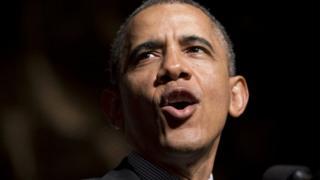 President Barack Obama giving a speech on 11 April, 2014.