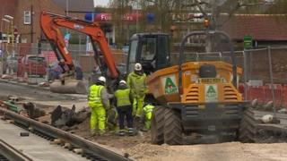 Tram works in Beeston