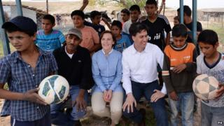 Labour leader Ed Miliband and his wife Justine visit the Khan al-Ahmar Bedouin community in the West Bank