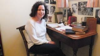 Dylan Thomas's granddaughter Hannah Ellis in the poet's bedroom