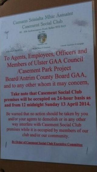 A poster at Casement Park Social Club indicates a sit-in is taking place