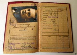 Image provided by French auction House Vermot de Pas shows Nazi leader Hermann Goering's passport on 14 April 2014.