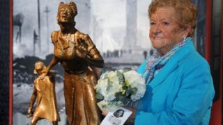 Brigid, one of the Henry family, who lost their sister, Suzy, pictured at a ceremony to mark the 73rd anniversary of the Belfast Blitz