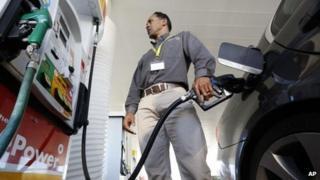Man filling up car in US