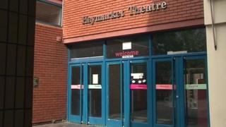 Outside Leicester's disused Haymarket Theatre