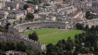 Aerial view of The Royal Crescent in Bath