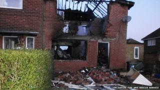 House explosion at Cumberland Avenue, Clayton Le Moors in Lancashire