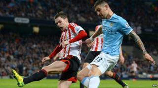 Manchester City's Aleksandar Kolarov playing against Sunderland