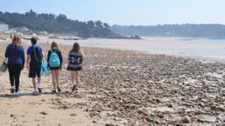 Children on St Brelade beach