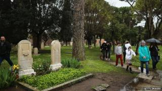 Visitors walk past the graves of poets Keats and Shelley