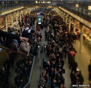 Queues forming at St Pancras station because of delays and cancellations on Eurostar services