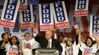 Toronto Mayor Rob Ford campaigned in Toronto on 17 April 2014