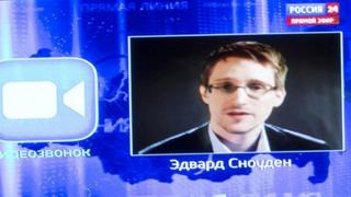 Edward Snowden appears via video on a Russian television broadcast.
