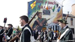 The parade made its way through west Belfast to Milltown cemetery