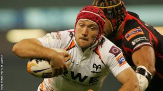 Richard Fussell of Ospreys is denied a try by the TMO review
