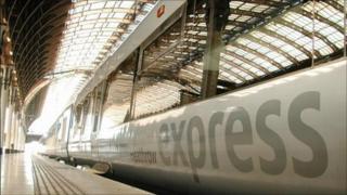 A Heathrow Express train at Paddington Station in London