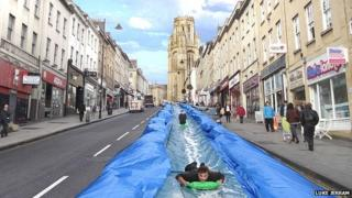 90m water slide plan for Bristol