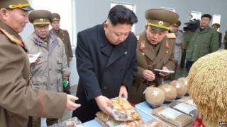Kim Jong-un on a food inspection