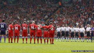 Liverpool Locals and Liverpool International Greats line up before the Celebration of The 96 Charity Match at Anfield, Liverpool