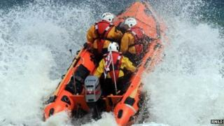 D Class RNLI lifeboat in surf