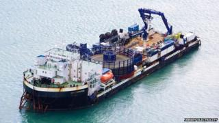 Cable Enterprise, specialist barge being used to lay the third Jersey-France electricity cable