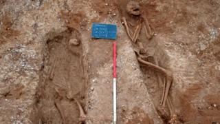 Skeletons found by Anglian Water dig in Suffolk