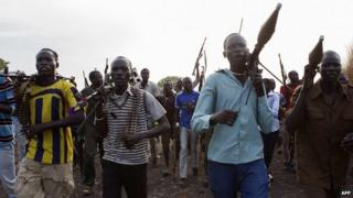 """Member of the """"white army"""" which make up some of the rebel forces loyal to Riek Machar in South Sudan - Upper Nile State, 14 April 2014"""