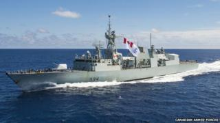 Regina flies the Canadian Naval Ensign off the east coast of Africa on 26 February 2014