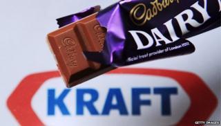 Photo illustration of a Cadbury chocolate bar against a Kraft logo