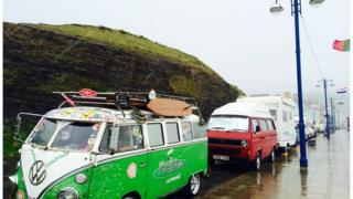 Motor homes parked on Aberystwyth promenade