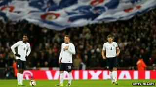 Daniel Sturridge, Wayne Rooney and Steven Gerrard of England