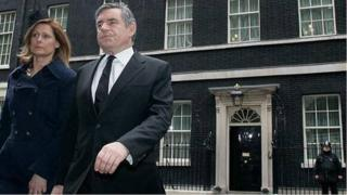 Mocked-up Twitter picture of Gordon and Sarah Brown leaving Downing Street