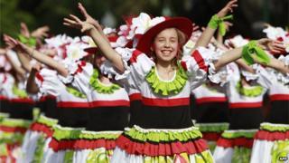 Children take part in Madeira Island Flowers Festival