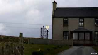 Gas terminal near house at Sullom Voe