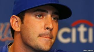 New York Mets pitcher Matt Harvey purses his lips during a press conference in 2013.
