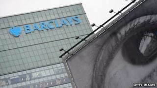 Barclays bank with gigantic eye