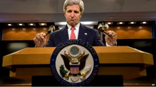 US Secretary of State John Kerry speaks to press about the situation with Ukraine and Russia - 24 April 2014