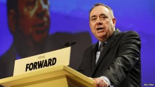 Alex Salmond giving speech - file pic