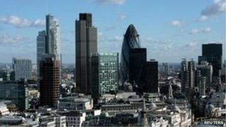 London financial district skyline