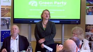 Green Party leader Natalie Bennett launches her party's European election manifesto, flanked by MEPs Jean Lambert and Keith Taylor