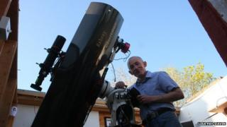 Dave Grennan with the telescope he built himself in Raheny