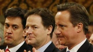Ed Miliband, Nick Clegg and David Cameron