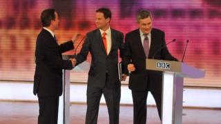 David Cameron, Nick Clegg and Gordon Brown at the end of the third leaders' debate in 2010