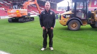 Groundsman, Craig Richardson at Bristol City football ground