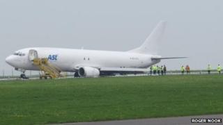 Cargo plane on runway