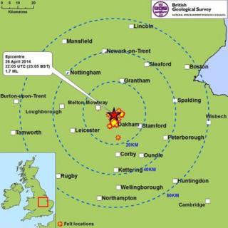 A map of where the quake was felt