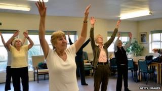 pensioners in exercise class
