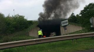 A446 lorry fire