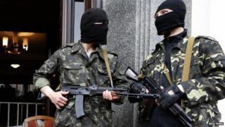 Pro-Russian militiaman in Luhansk, 30 April