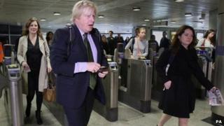 Boris Johnson at a Tube station in London